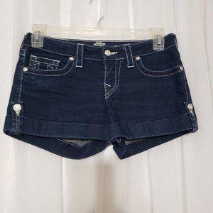 True Religion Jean Denim Shorts Cuffed Hem Size 28